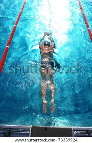 Swimmer in a swimming pool on a hot day - stock photo