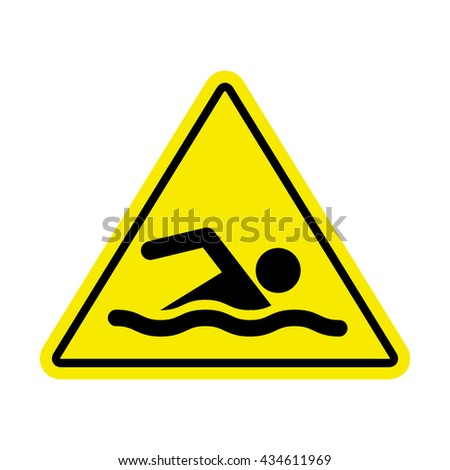 Swimming area and no swimming hazard- warning sign - stock photo