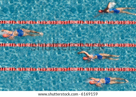 Swimming competition with one champion. Use it for concepts - stock photo