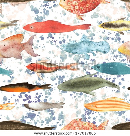 Swimming fish seamless watercolor illustration - stock photo
