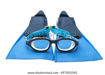 Swimming Goggles and Diving Shoes
