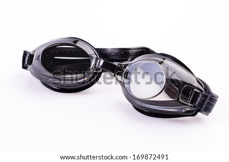 Swimming goggles glasses isolated on white background