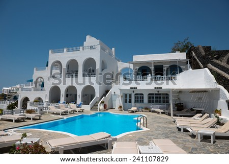 Swimming pool and hotel in Greece - stock photo