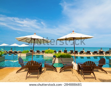 Swimming pool and sea view - stock photo