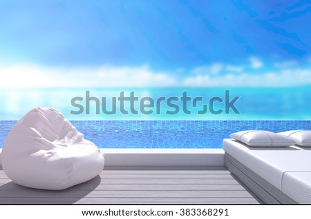Swimming Pool And Terrace Of The Blur Nature Background
