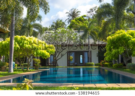 Swimming pool and yard of the luxury villa, Samui, Thailand - stock photo