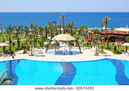Swimming pool area in popular hotel, Antalya, Turkey