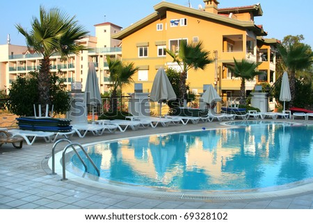 swimming pool at a hotel in Turkey - stock photo
