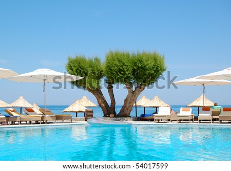 Swimming pool at luxury hotel, Crete, Greece - stock photo
