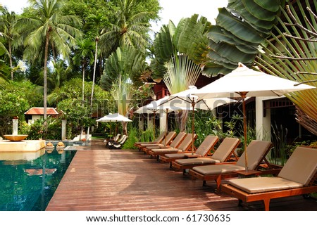 Swimming pool at modern luxury villa, Samui island, Thailand - stock photo