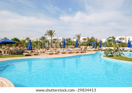 Swimming pool at popuar hotel, Sharm el Sheikh, Egypt