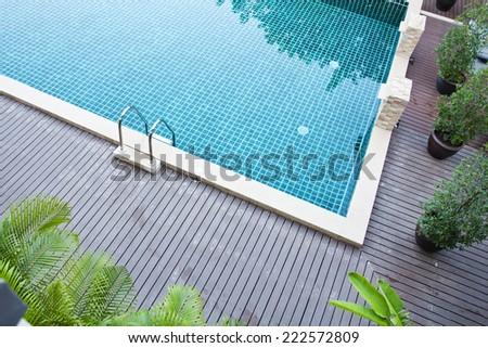 Swimming pool at resort - stock photo