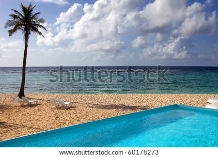 swimming pool at the beach in the coast of Mexico - stock photo