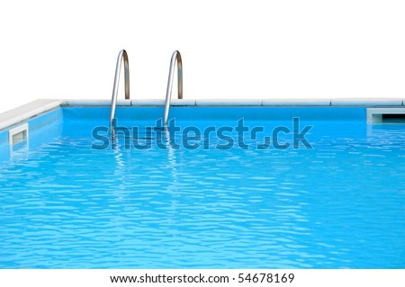 Swimming pool closeup isolated on white