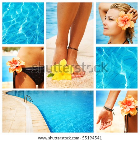 Swimming Pool collage.Vacation concept - stock photo