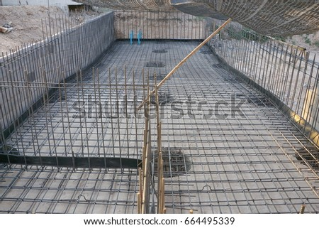 Swimming pool construction. Construction work.