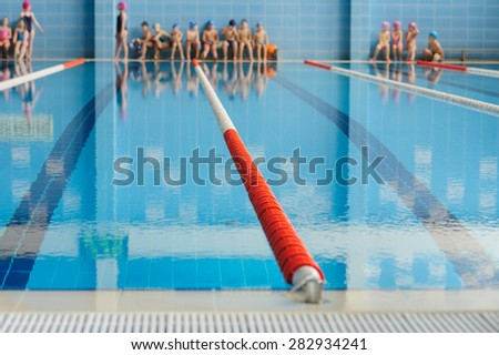 swimming pool during children's competitions - stock photo