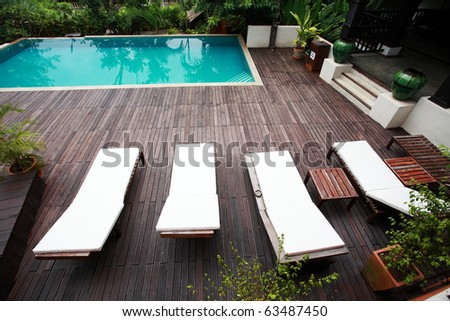 swimming-pool in a hotel - stock photo