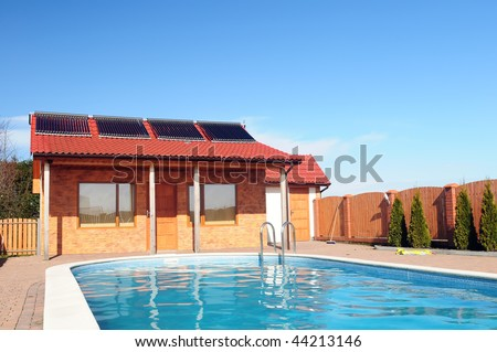 Swimming Pool Front Small Bungalow Solar Stock Photo 44213146