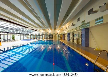 swimming pool in Hotel Leisure Center Interior - stock photo