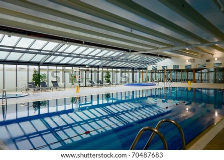 swimming pool in Hotel Leisure Center Interior - stock photo