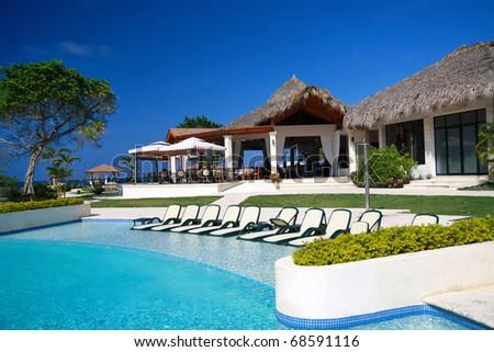 Swimming pool in luxury Hotel - stock photo
