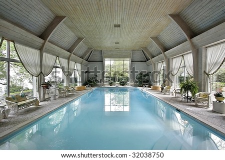 Swimming pool in mansion - stock photo