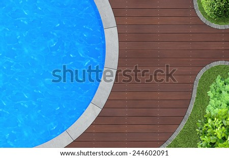 swimming pool in ornamental garden from above - stock photo