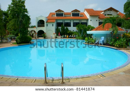 Swimming pool in the morning time - stock photo