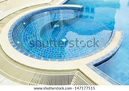 swimming pool in tropical resort , Thailand. - stock photo