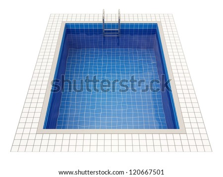 Swimming Pool isolated on white background - stock photo