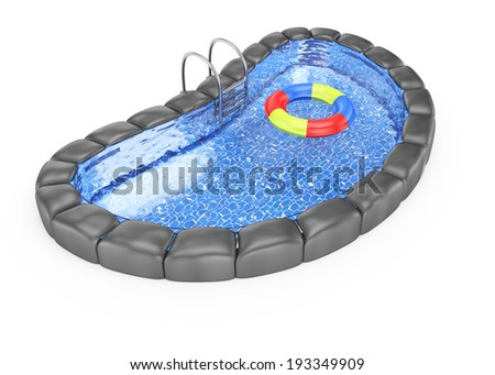Swimming pool isolated on white background. 3d rendering illustration - stock photo