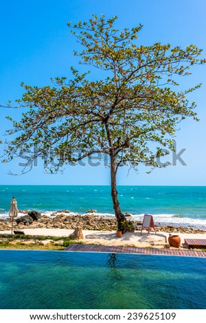Swimming pool near the beach at high class resort in thailand Koh Samui - stock photo