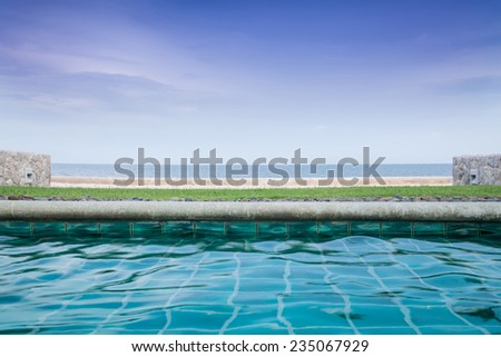 Swimming Pool Near the Sea  - stock photo