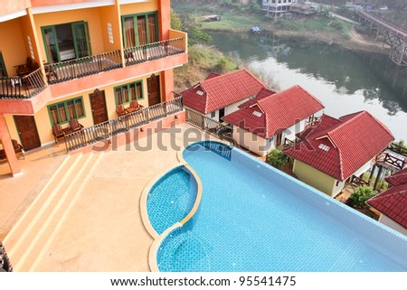 Swimming pool of luxury home - stock photo