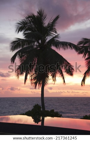 Swimming pool of the Banyan Tree Hotel with Palm Trees at Sunset, Anse Intendance, Mahe', Seychelles - stock photo