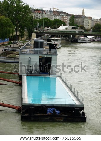swimming pool on a ship - stock photo