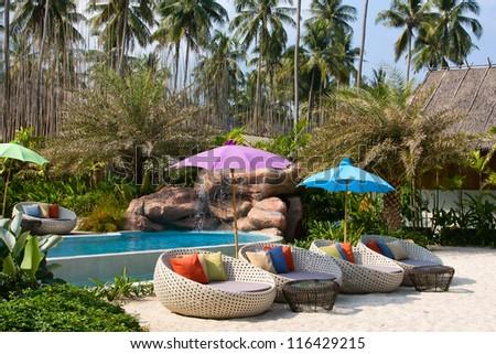 Swimming pool on the beach. Island Koh Kood , Thailand . - stock photo