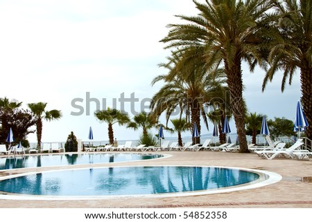 Swimming pool on the coast of Turkey. - stock photo