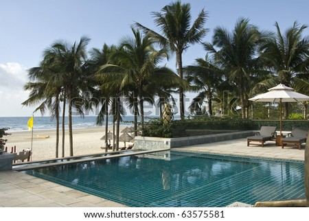 Swimming pool on the coast  Tourist Resort,