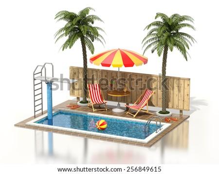 Swimming pool on white reflective background - stock photo