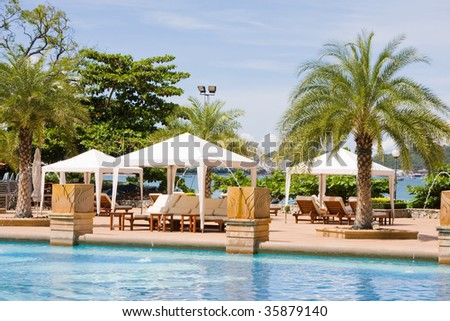 Swimming pool. Pattaya city in Thailand.