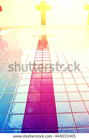 swimming pool races in  with color filters - stock photo