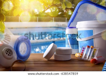 Pool stock images royalty free images vectors shutterstock for Swimming pool cleaning chemicals list