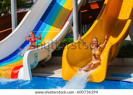 Swimming Pool Slides Children On Water Stock Photo Royalty Free 600736394 Shutterstock