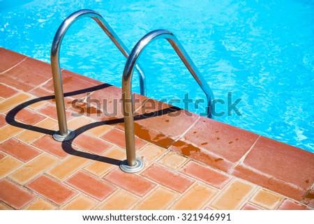 swimming pool stair  - stock photo