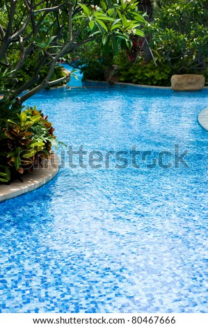 Swimming pool surrounded by lush tropical plants. - stock photo