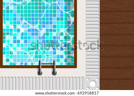 Swimming Pool Top View And Wooden Floor With Mosaic In