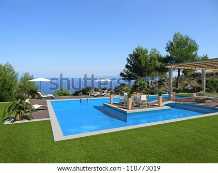 swimming pool with an islet in the center and a beautiful view to the sea - rendering - stock photo