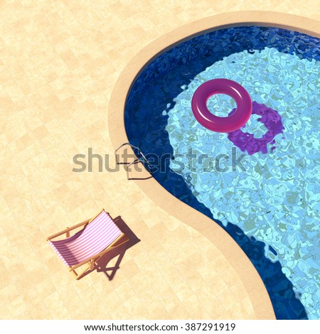 Swimming pool with deckchairs top view - stock photo